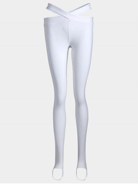 lady Stirrup Bandage Yoga Leggings - WHITE S Mobile
