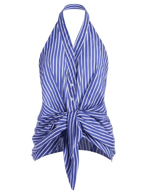 best Stripes Bow Tie Backless Tank Top - STRIPE S Mobile