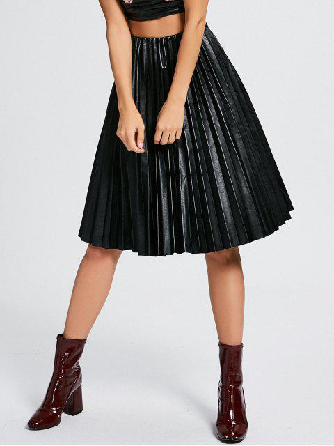 shops High Waist Pleated Faux Leather Skirt - BLACK ONE SIZE Mobile