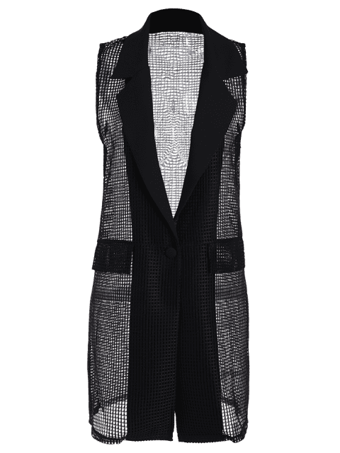 best Hollow Out Faux Pockets Long Waistcoat - BLACK ONE SIZE Mobile