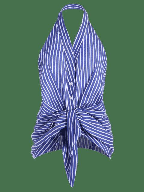 hot Stripes Bow Tie Backless Tank Top - STRIPE L Mobile