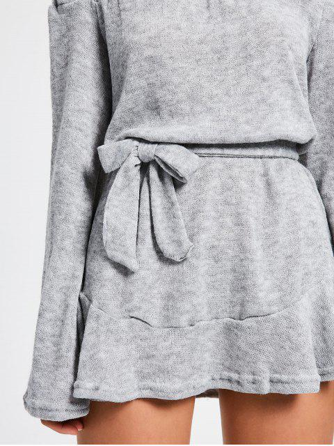 latest Off The Shoulder Belted Mini Dress - GRAY XL Mobile