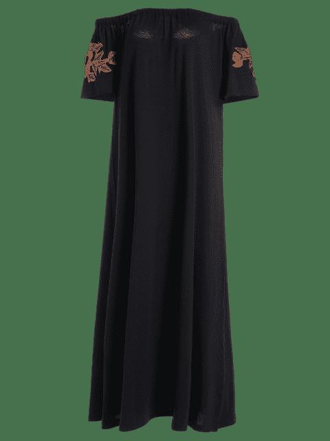 chic Floral Patched Off The Shoulder Dress - BLACK L Mobile