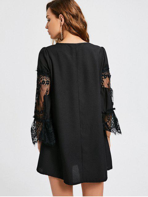 womens Long Sleeve Lace Panel Dress - BLACK L Mobile