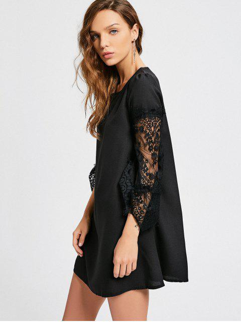 women Long Sleeve Lace Panel Dress - BLACK XL Mobile