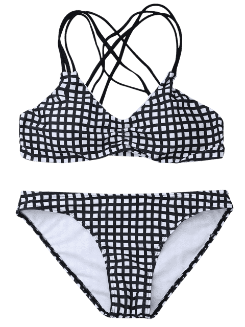 hot Crisscross Strappy Checked Bikini Set - WHITE AND BLACK S Mobile