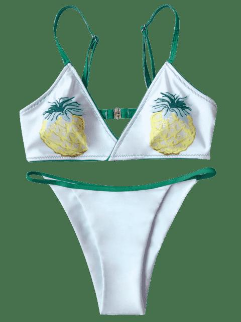 outfits Banded Pineapple Thong Bikini - WHITE M Mobile