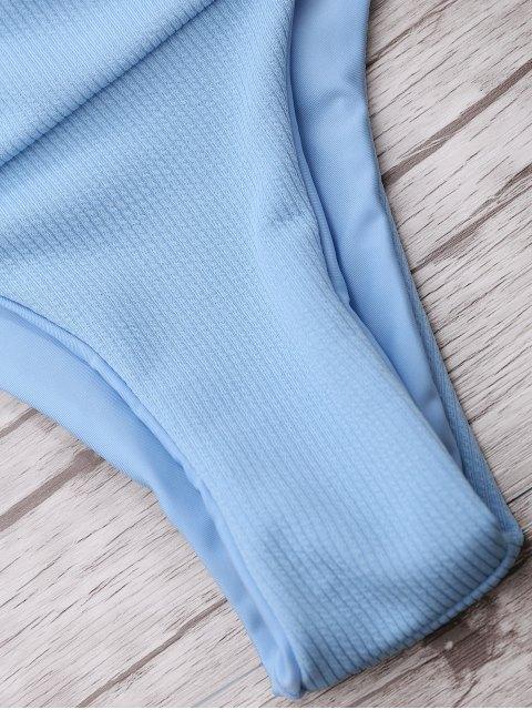 chic Ribbed High Neck Bikini Set - LIGHT BLUE M Mobile