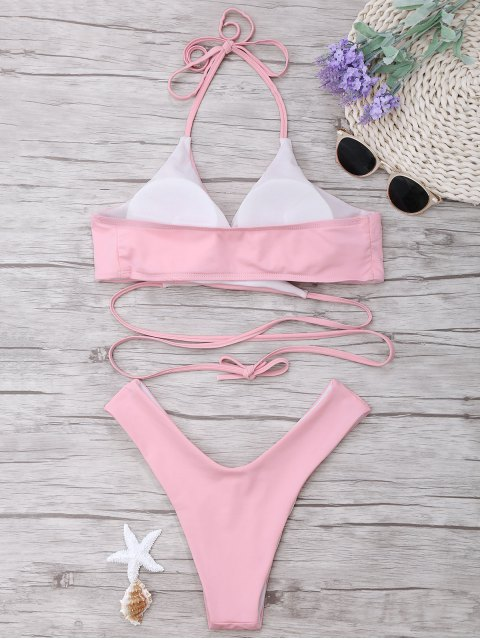 sale Padded Halter Wrap Bikini Set - LIGHT PINK S Mobile