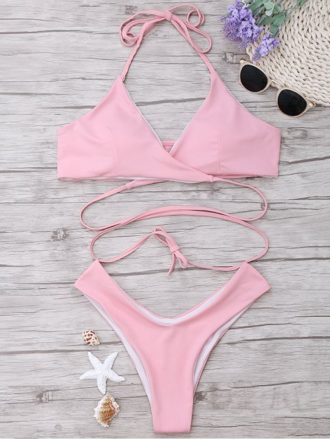 affordable Padded Halter Wrap Bikini Set - LIGHT PINK L Mobile