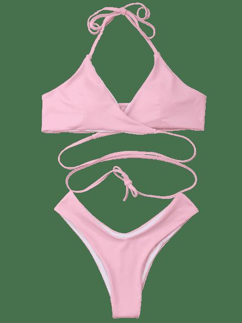 affordable Padded Halter Wrap Bikini Set - LIGHT PINK L Mobile