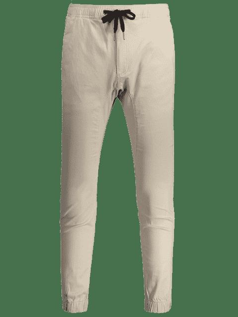 Casual Drawstring Jogger Pants - Kaki Clair 38 Mobile