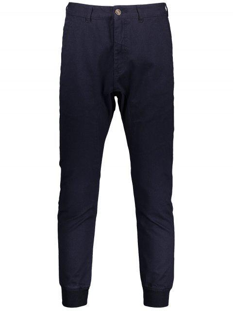 Männer Casual Jogger Hosen mit Reißverschluss - Schwarzblau 34 Mobile
