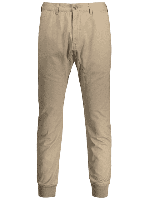 Hommes Casual Zip Fly Jogger Pants - Kaki Clair 36 Mobile