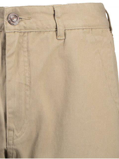 womens Men Casual Zip Fly Jogger Pants - LIGHT KHAKI 34 Mobile