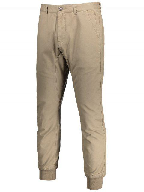 Hommes Casual Zip Fly Jogger Pants - Kaki Clair 32 Mobile