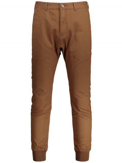 ladies Men Casual Zip Fly Jogger Pants - BROWN 36 Mobile