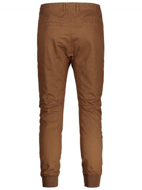 Hommes Casual Zip Fly Jogger Pants - Brun 34 Mobile