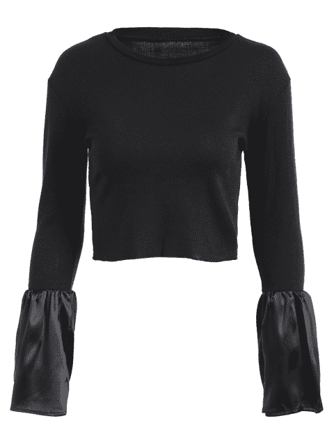 best Flare Sleeve Knitted Crop Tee - BLACK M Mobile