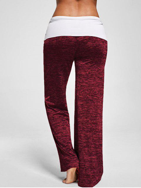 ladies Foldover Heather Wide Leg Pants - RED S Mobile
