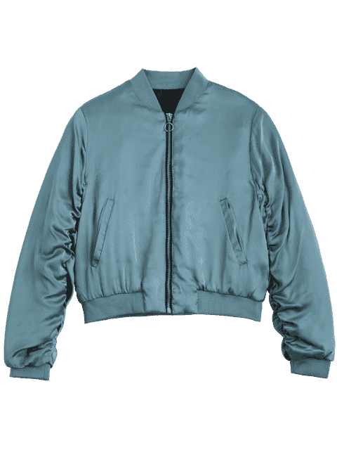 trendy Puffer Zip Up Bomber Jacket - LAKE BLUE M Mobile