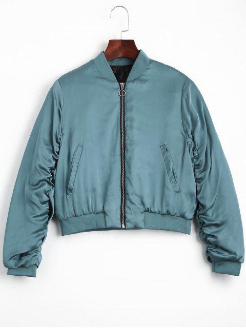 fashion Puffer Zip Up Bomber Jacket - LAKE BLUE S Mobile