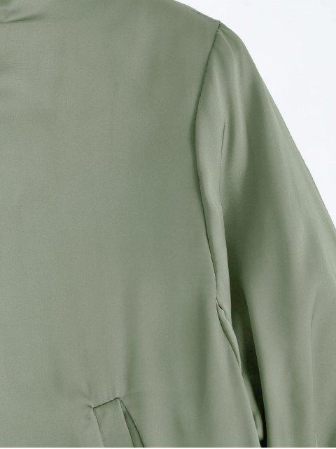 outfits Puffer Zip Up Bomber Jacket - LIGHT GREEN L Mobile