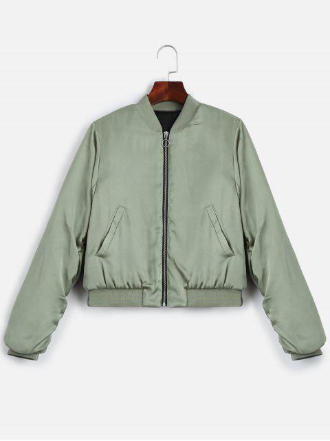 shop Puffer Zip Up Bomber Jacket - LIGHT GREEN M Mobile