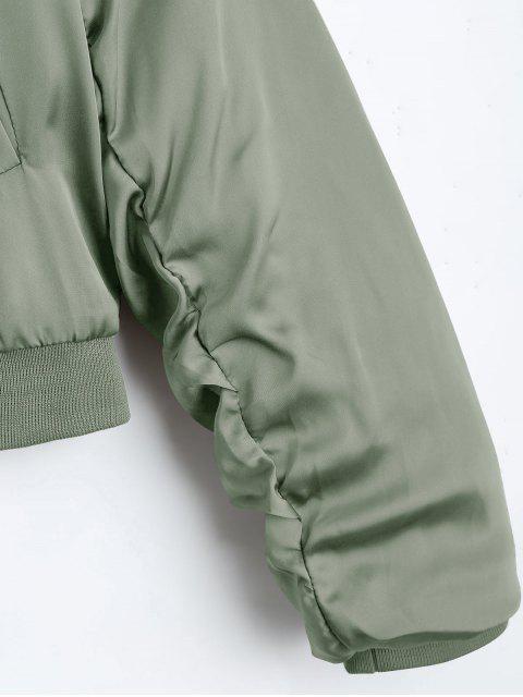 shops Puffer Zip Up Bomber Jacket - LIGHT GREEN S Mobile