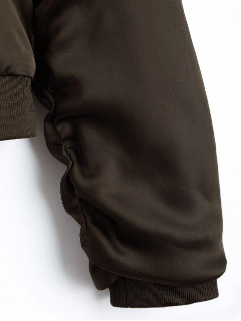 fashion Puffer Zip Up Bomber Jacket - COFFEE L Mobile