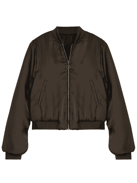 chic Puffer Zip Up Bomber Jacket - COFFEE M Mobile