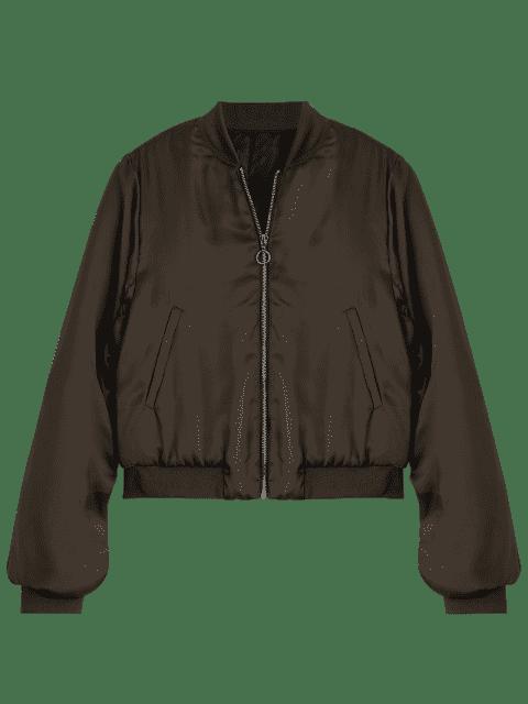 fancy Puffer Zip Up Bomber Jacket - COFFEE S Mobile