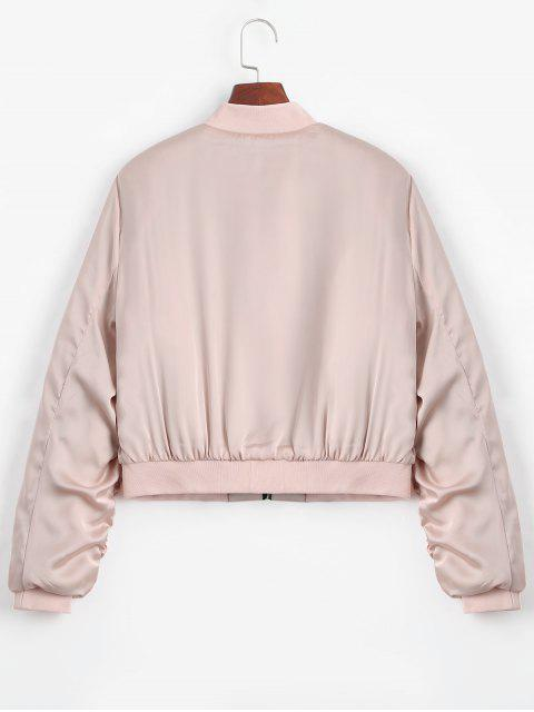 outfits Puffer Zip Up Bomber Jacket - PINK L Mobile