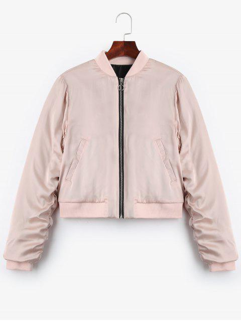 trendy Puffer Zip Up Bomber Jacket - PINK S Mobile