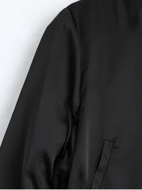 lady Puffer Zip Up Bomber Jacket - BLACK M Mobile