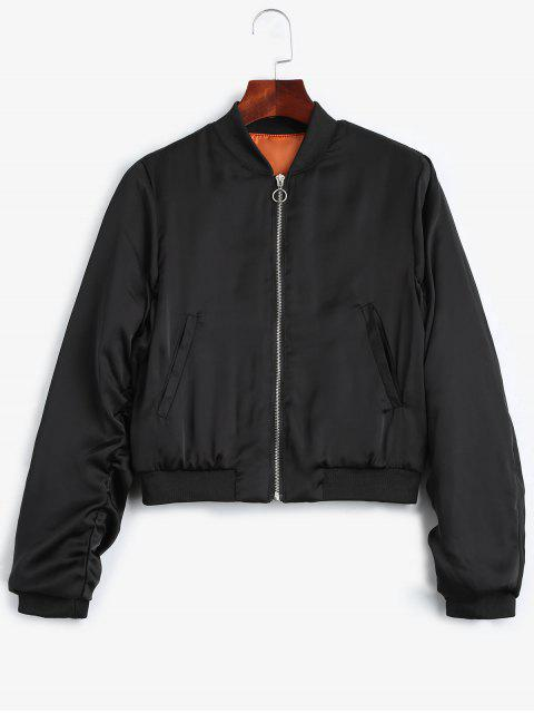 lady Puffer Zip Up Bomber Jacket - BLACK M Mobile