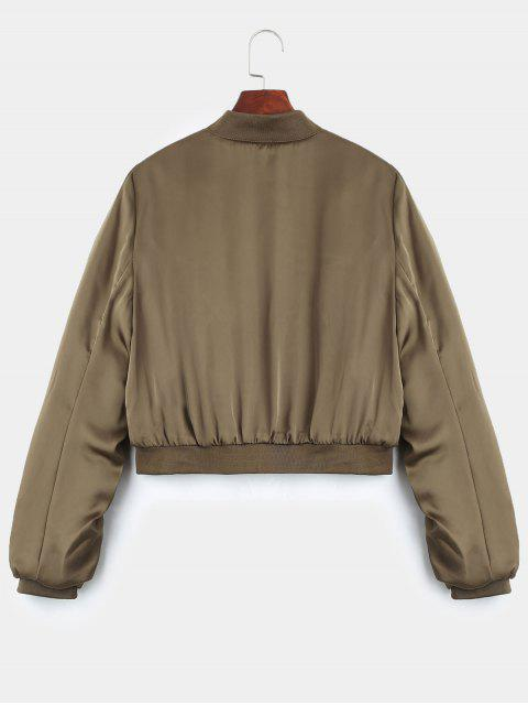 sale Puffer Zip Up Bomber Jacket - KHAKI L Mobile