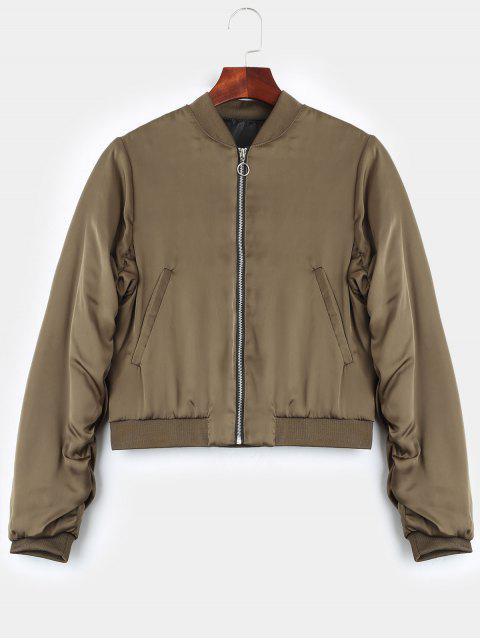 womens Puffer Zip Up Bomber Jacket - KHAKI M Mobile