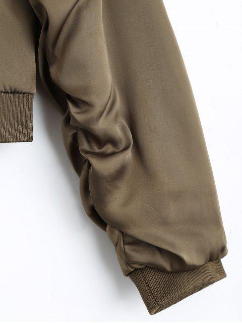 women Puffer Zip Up Bomber Jacket - KHAKI S Mobile