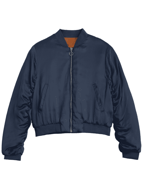 lady Puffer Zip Up Bomber Jacket - PURPLISH BLUE L Mobile