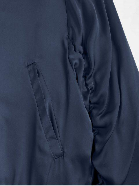 online Puffer Zip Up Bomber Jacket - PURPLISH BLUE M Mobile