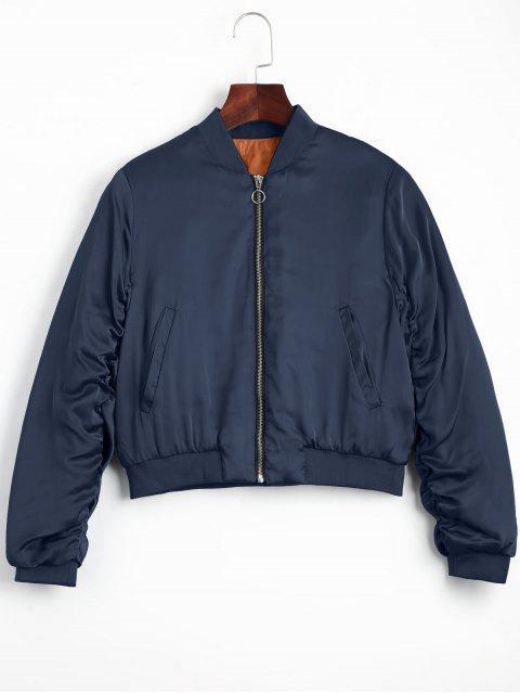 hot Puffer Zip Up Bomber Jacket - PURPLISH BLUE S Mobile