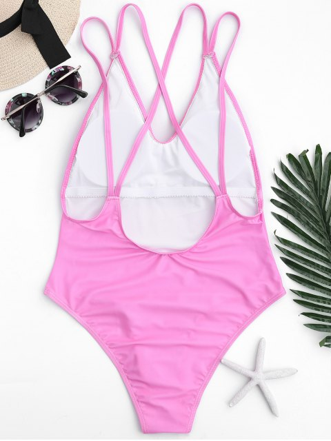 affordable One Piece Watermelon High Cut Swimwear - PINK L Mobile