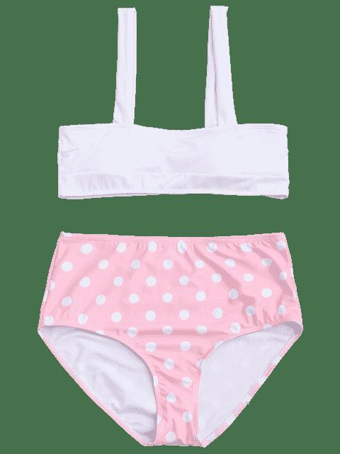 affordable Polka Dot Straps High Waisted Bikini - PINK L Mobile