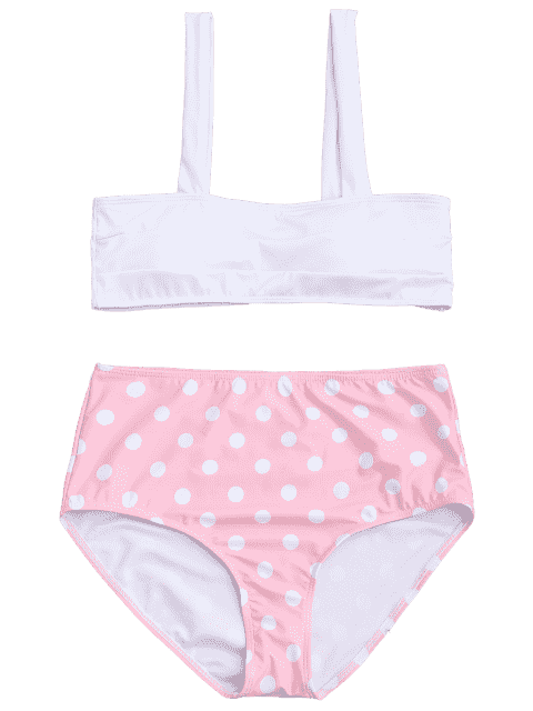 latest Polka Dot Straps High Waisted Bikini - PINK XL Mobile