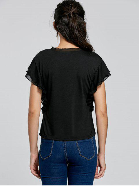 women Layered Butterfly Sleeve Tee - BLACK M Mobile