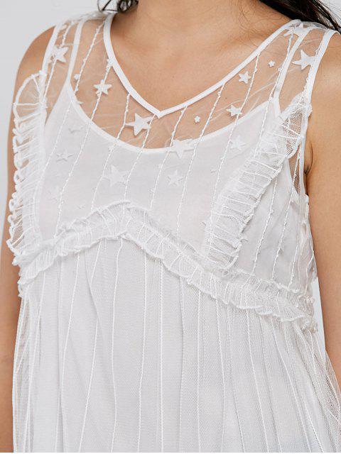 outfits Frill Tulle Sheer V Neck Top - WHITE XL Mobile