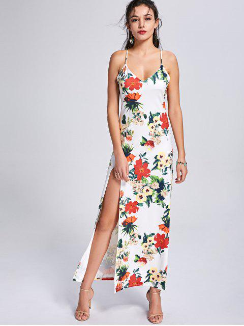 latest Backless High Slit Floral Maxi Slip Dress - COLORMIX S Mobile