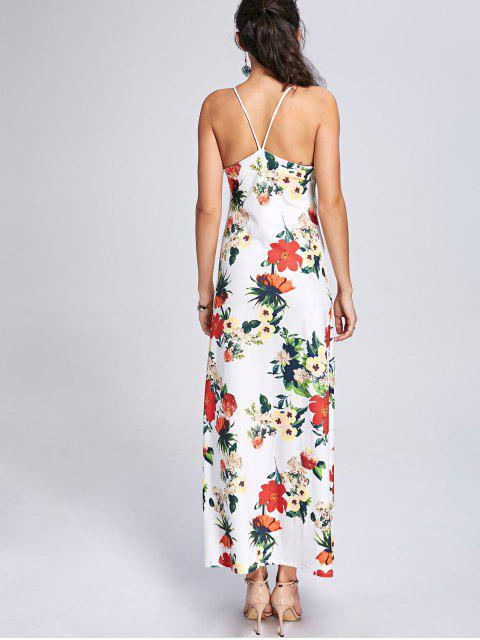 chic Backless High Slit Floral Maxi Slip Dress - COLORMIX XL Mobile