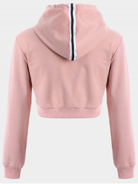 latest Cropped Drawstring Sports Hoodie - PINK L Mobile
